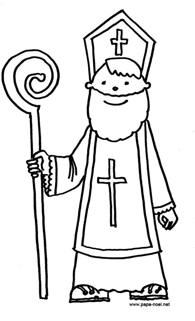 Coloriage saint nicolas image colorier n b - Dessin de saint ...